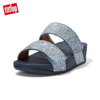 FitFlop MINA GLITTER MIX SLIDES寬帶涼鞋-女(瓷藍色)
