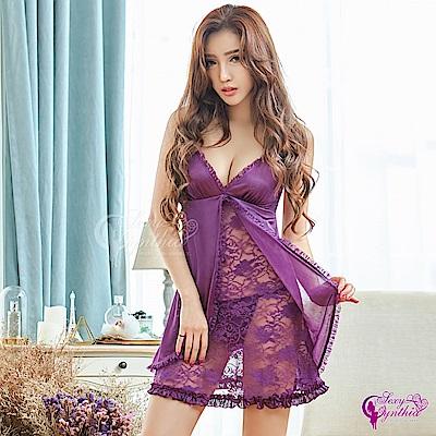 Sexy Cynthia情趣柔緞開襟蕾絲二件式睡衣(紫F)-紫F