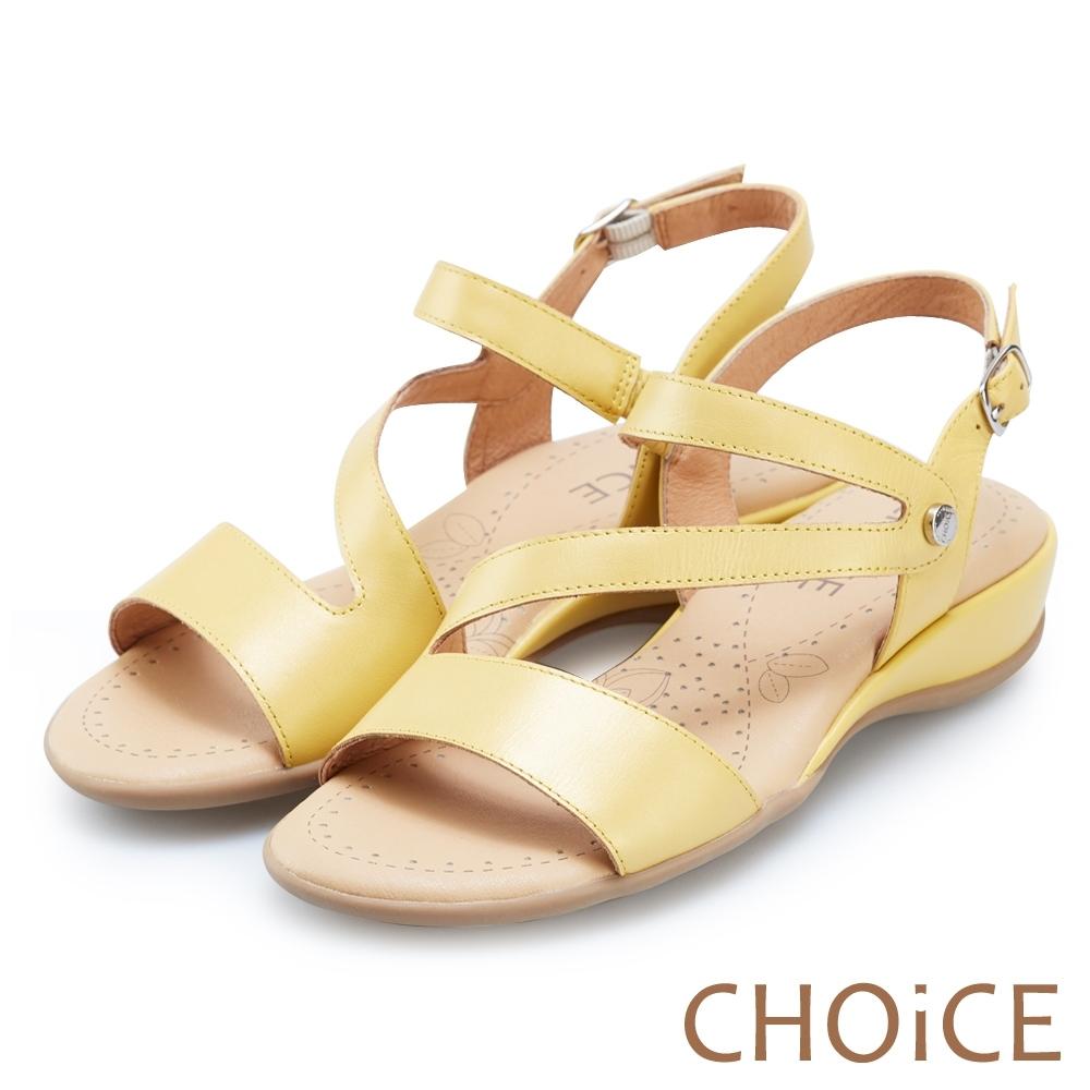 CHOiCE 細緻牛皮斜帶造型厚底涼鞋 黃色