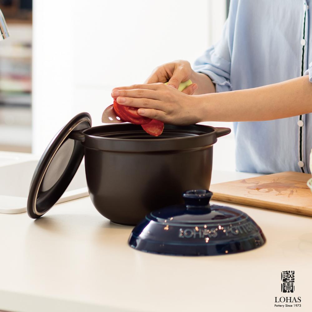 陸寶 樂彩雙層蓋陶鍋2號2.8L 寶石藍