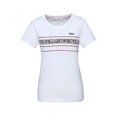 FILA 女款短袖圓領T恤-白色 5TET-1518-WT