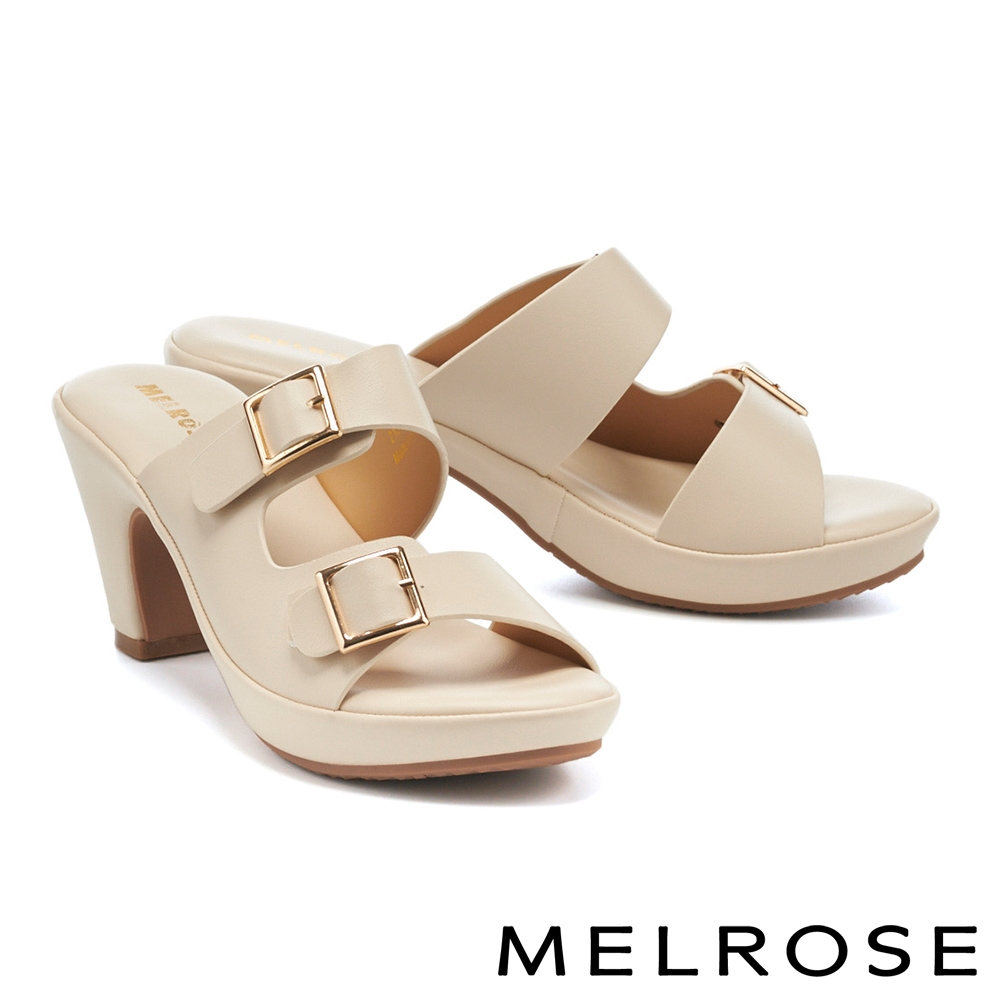 拖鞋 MELROSE 質感純色金屬釦環側空美型高跟拖鞋-米