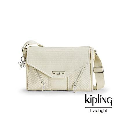 Kipling 高雅米白壓紋拉鍊斜肩包-READY NOW