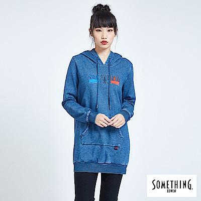 SOMETHING 青春高校 基本LOGO長版連帽T恤-女-中古藍
