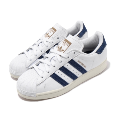adidas 休閒鞋 Superstar 復古 低筒 男女鞋 愛迪達 三葉草 貝殼頭 奶油底 丹寧 情侶鞋 白 藍 FW6592