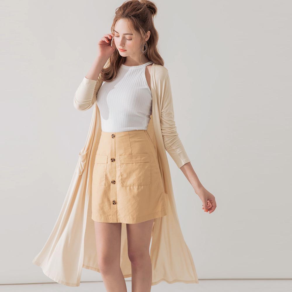 AIR SPACE 雙口袋彈力長版罩衫(杏) @ Y!購物