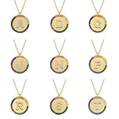 [部落客最愛!市價4800瘋降]apm MONACO法國精品珠寶 閃耀彩虹晶鑽字母金色圓牌可調整長項鍊