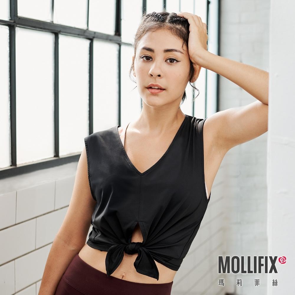 Mollifix 瑪莉菲絲 雙面穿綁結造型短版背心 (黑)