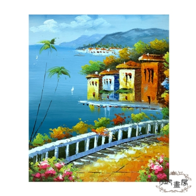 御畫房 手繪無框油畫-美麗小鎮 50x60cm