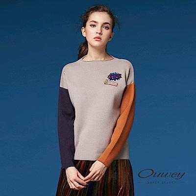 OUWEY歐薇 率性貼布刺繡針織上衣(可)