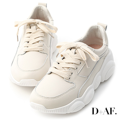D+AF 人氣潮款.小熊鞋底真皮老爹鞋*杏