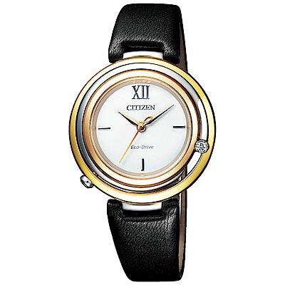CITIZEN 星辰L光動能閃耀晶鑽時尚手錶(EM0656-15A)-金框X黑帶/32mm