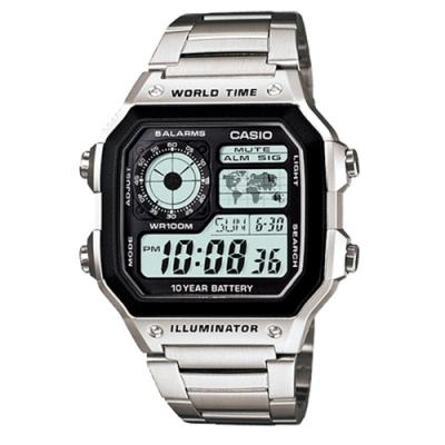 CASIO卡西歐 地圖方形鐵帶電子錶(AE-1200WHD-1A)