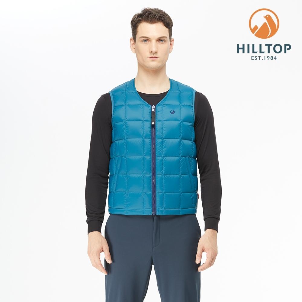 【hilltop山頂鳥】男款超潑水雙面穿蓄熱羽絨背心F25MG1墨水藍/海底藍