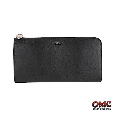 OMC 進口小牛皮-馬尾紋L型拉鏈18卡透明窗零錢長夾-黑色