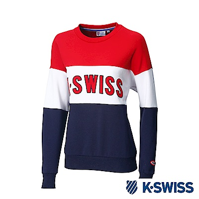 K-Swiss Round Sweat Shirts圓領長袖上衣-女-紅