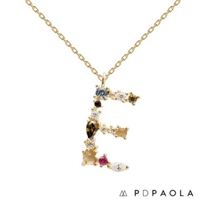 PD PAOLA 西班牙輕奢時尚品牌 字母E 彩鑽寶石項鍊