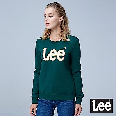 Lee 大LOGO刷毛圓領長袖厚TEE/RG-深綠色