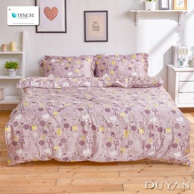 DUYAN竹漾-100%頂級萊塞爾天絲-雙人四件式舖棉兩用被床包組-夢不落雨林