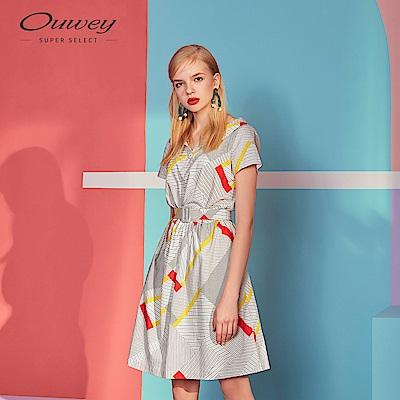 OUWEY歐薇 幾何條紋刷色復古圓領洋裝(白)