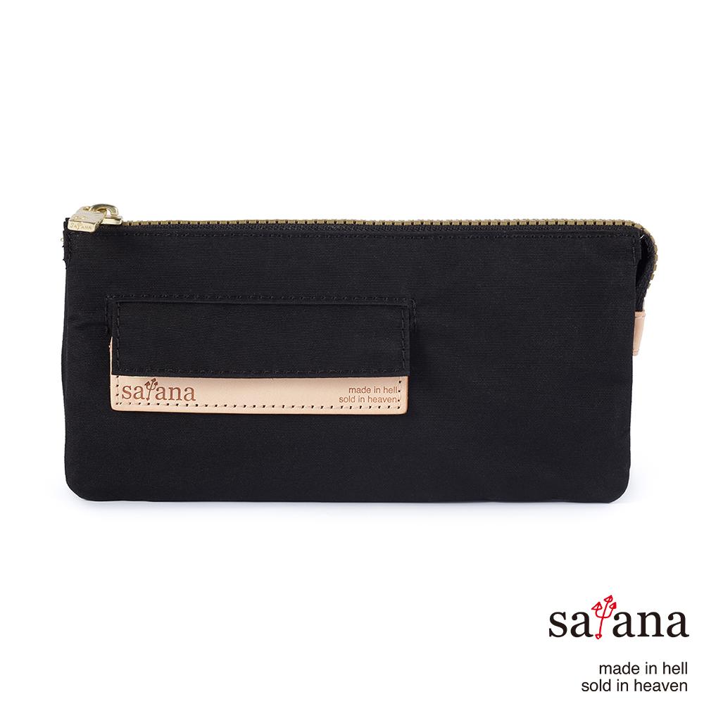 satana - 多夾層拉鍊長夾 - 黑色