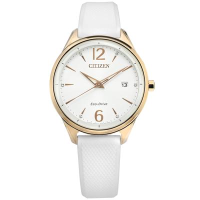 CITIZEN 光動能 施華洛世奇晶鑽 礦石強化玻璃 矽膠手錶-白x香檳金框/37mm