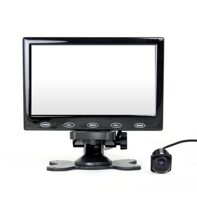 7吋螢幕顯示器+小草帽ZA905 崁入式倒車顯影 孔徑21mm 車用鏡頭-快