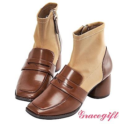 Grace gift X Kerina妞妞-異材質拼接襪型短靴 棕