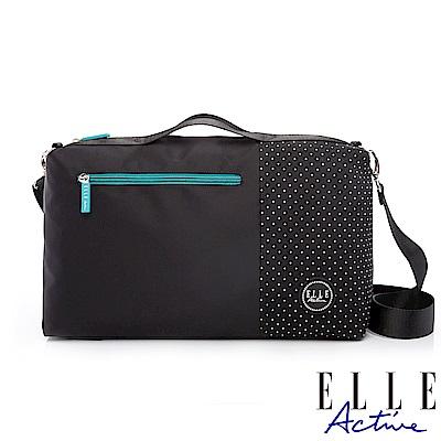 ELLE Active 錯位空間系列-小旅行袋/側背包/公事包/手提包-黑色
