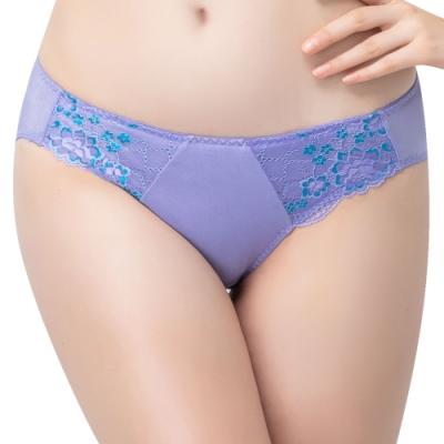思薇爾 花蔓系列M-XL蕾絲低腰三角內褲(蔓苑紫)
