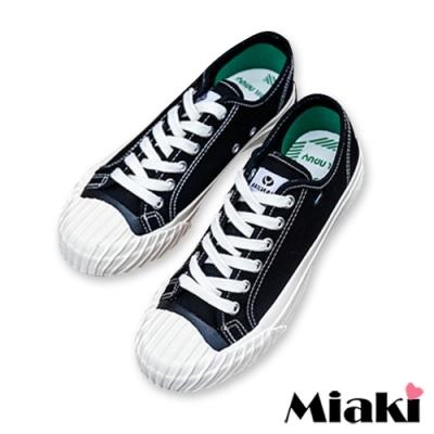 Miaki-帆布鞋經典時尚厚底餅干鞋-黑