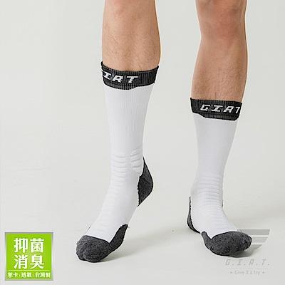 GIAT 萊卡消臭機能運動襪(原創信念款-白/黑邊)