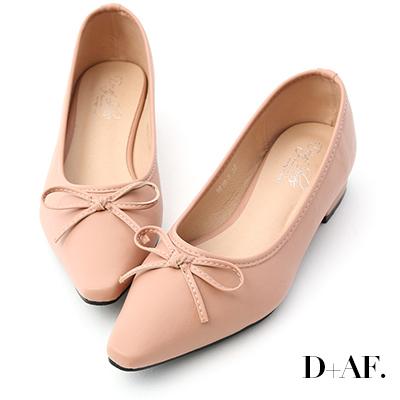 D+AF 春日繽紛.蝴蝶結尖頭低跟娃娃鞋*粉