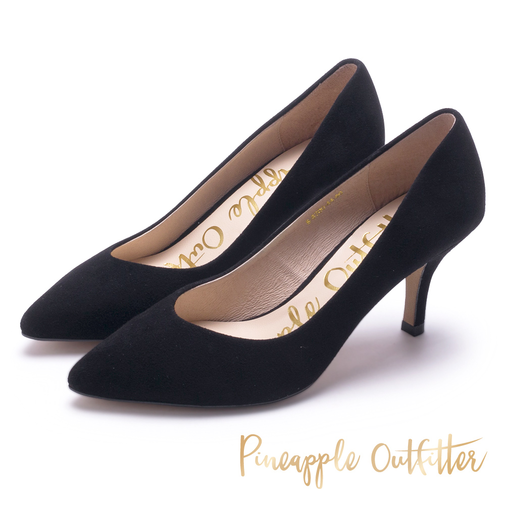 Pineapple Outfitter 優雅美型 麂皮尖頭中跟鞋-絨黑