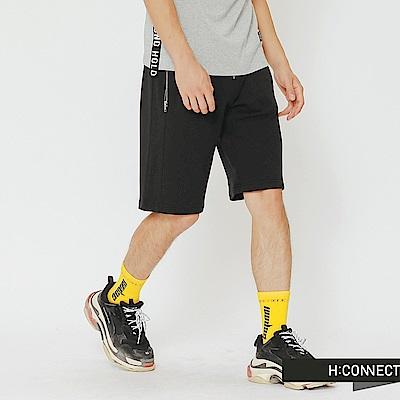 H:CONNECT 韓國品牌 男裝-拉鍊口袋設計棉質短褲-黑