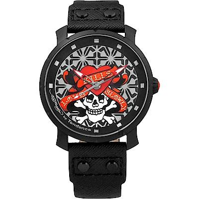 Tendence 天勢 骷髏紅心手錶-黑/47mm(TG230403)