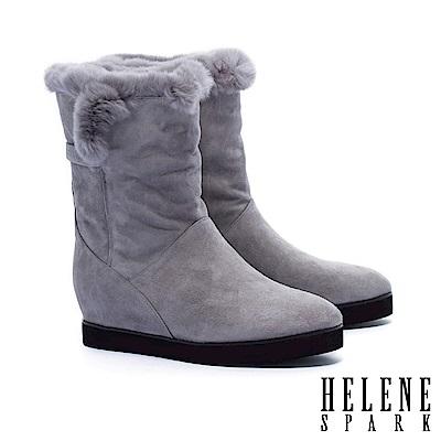 中筒靴 HELENE SPARK 反摺兔毛造型羊麂皮內增高中筒靴-灰