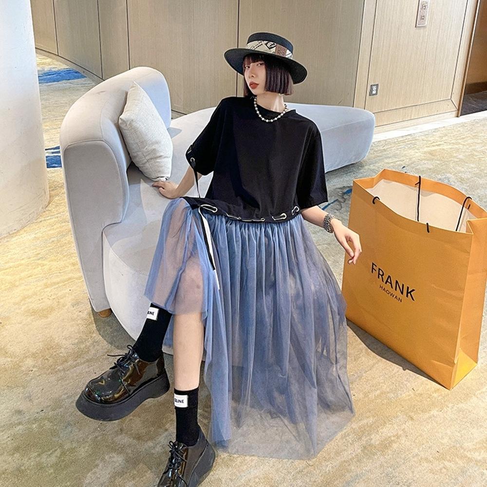 甜美個性不規則網紗拼接寬鬆娃娃洋裝-F-CLORI