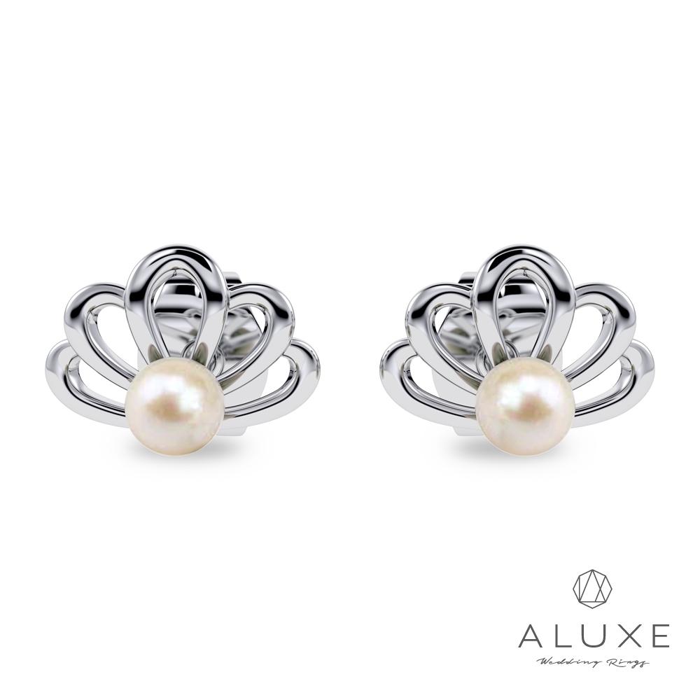 ALUXE 亞立詩Ocean Of Love小美人魚系列 10K金貝殼愛戀珍珠耳環