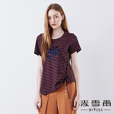 【麥雪爾】棉質條紋綁帶造型上衣