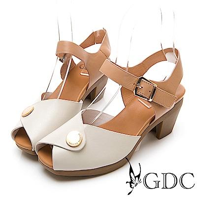 GDC-真皮日雜小金扣典雅魚口中跟涼鞋-米色