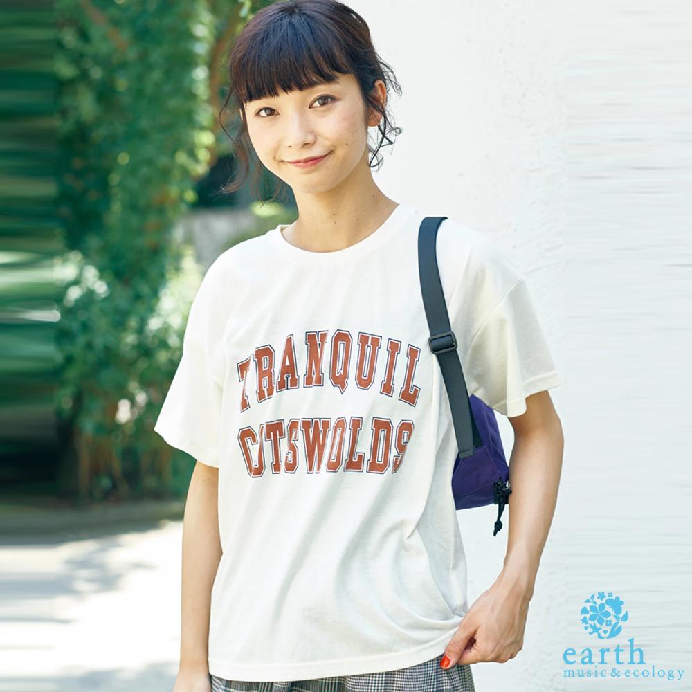 earth music 簡約配色標語T恤