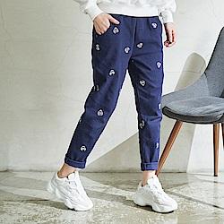 慢 生活 毛帽刺繡厚棉蘿蔔褲-卡/藍