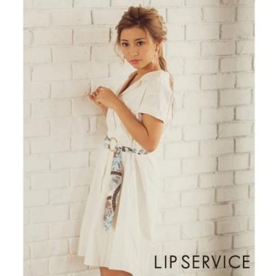 LIP SERVICE 襯衫式綁帶短袖洋裝(2色)