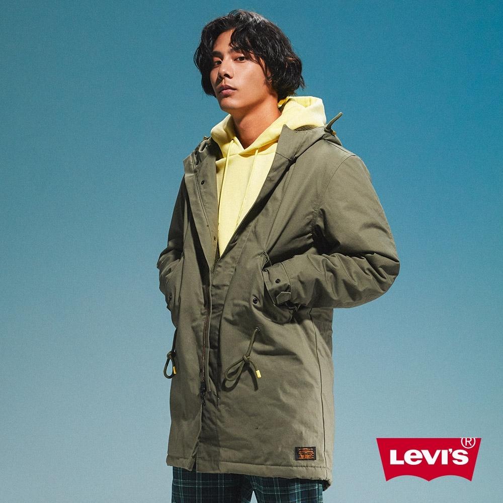 Levis 男款 長版軍裝絨毛外套 滑板系列 腰間抽繩
