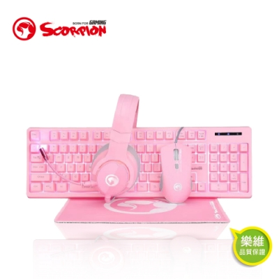 【MARVO】歐洲魔蠍 英文版 四合一粉紅電競套包 粉紅鍵盤滑鼠耳機滑鼠墊 CM418