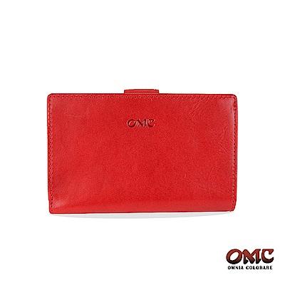 OMC 原皮系列-植鞣牛皮單拉鏈舌片壓扣8卡雙隔層零錢中夾-紅色