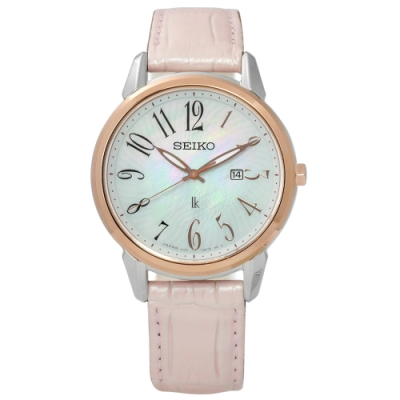 SEIKO 精工 LUKIA 限量 太陽能 鱷魚皮手錶-銀x玫瑰金框x銀粉/32mm