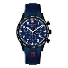 阿爾卑斯軍錶S.A.M 飛行員系列/藍橡膠錶帶/三眼計時/43mm