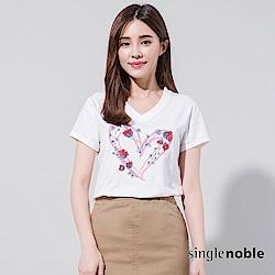 獨身貴族 花藝嘉年華亮片刺繡愛心T恤(2色)